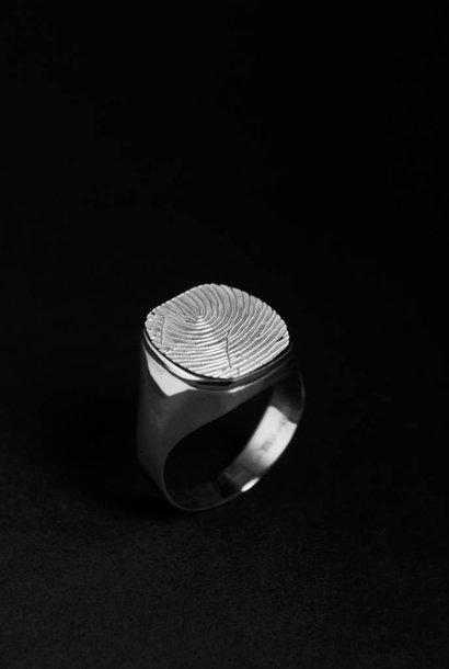 Zilveren  herenring ALWAYS - vingerafdruk