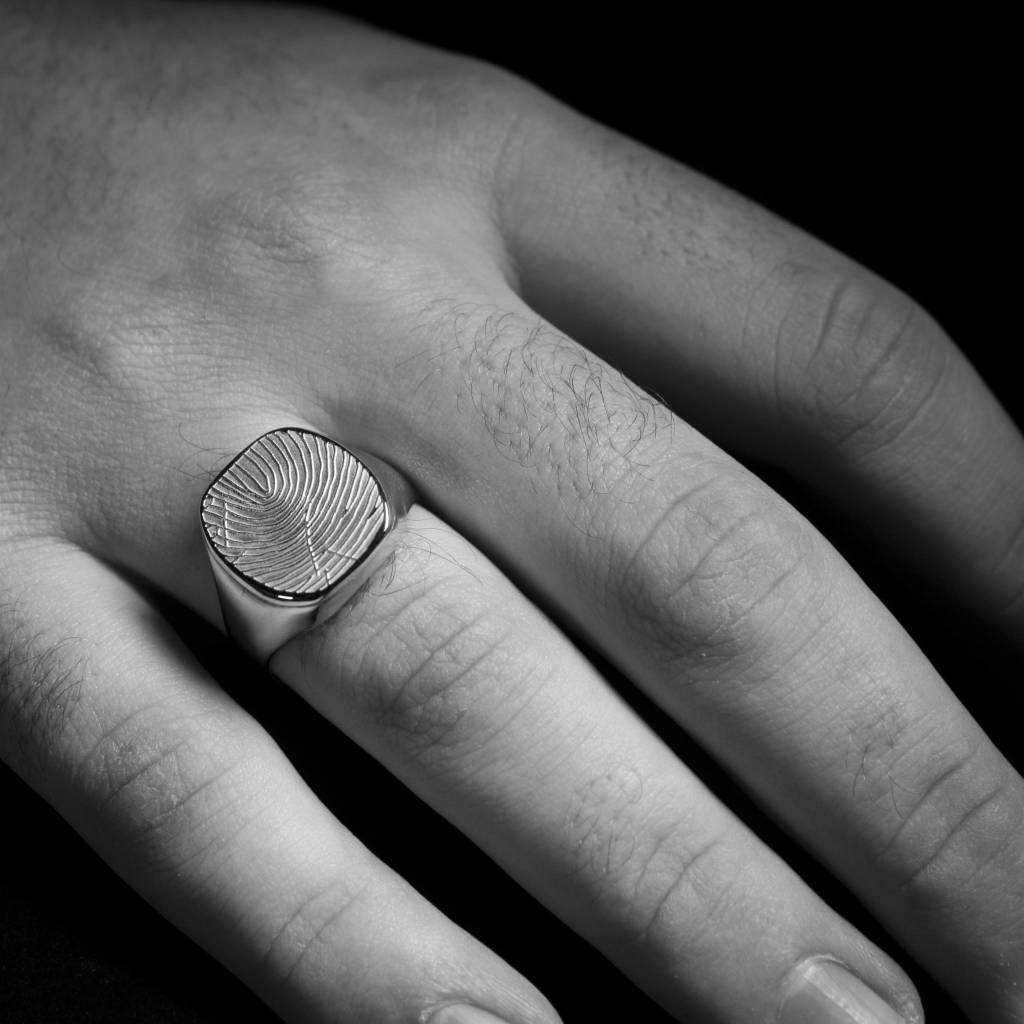 Zilveren  herenring ALWAYS - vingerafdruk-2