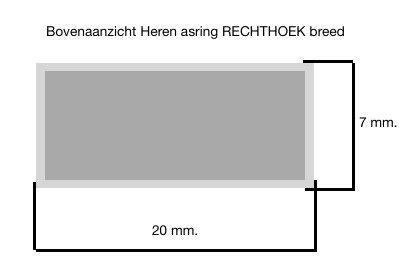 Zilveren heren asring RECHTHOEK breed