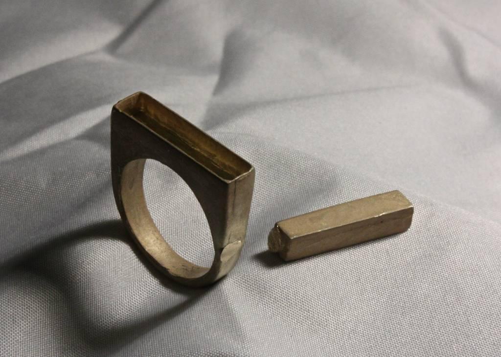 (As)ring RECHTHOEK smal, goud-5