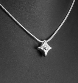 MARGRIET JEWELS Zilveren ashanger TWINKEL - Moissanite - klein