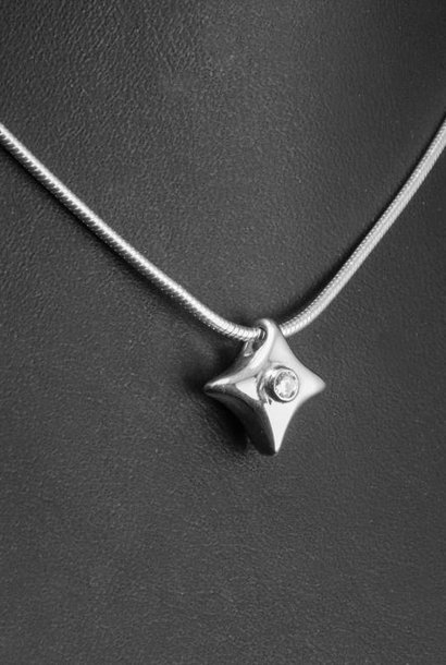 Zilveren (as)hanger TWINKEL - LAB grown Diamant - klein