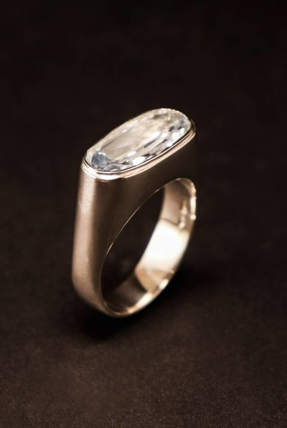 (As)ring GEM, zilver met  Aquamarijn