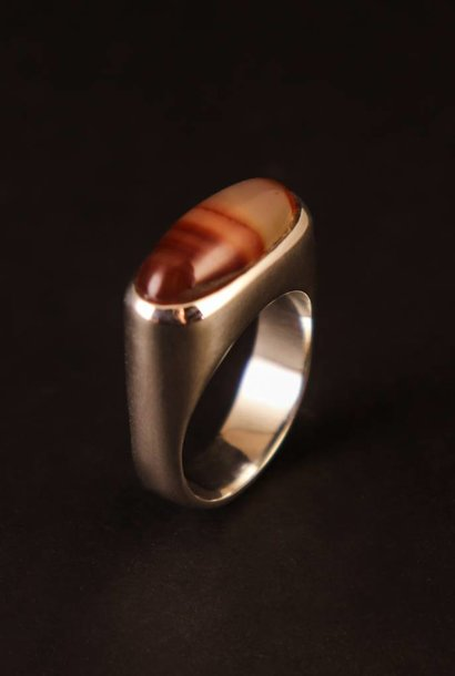 (As)ring GEM, zilver met Carneool