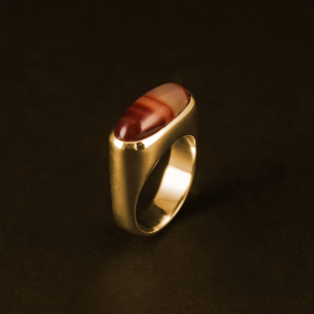 (As)ring  GEM, goud met Carneool-1