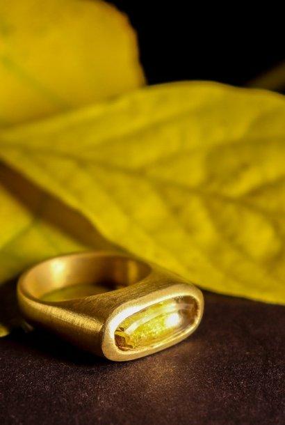 (As)ring GEM , goud met Citrien