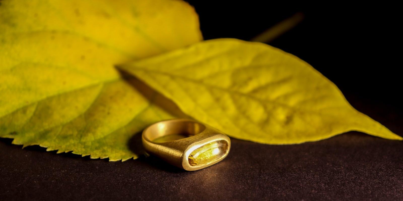 Gouden (as)ring GEM - Citrien-1