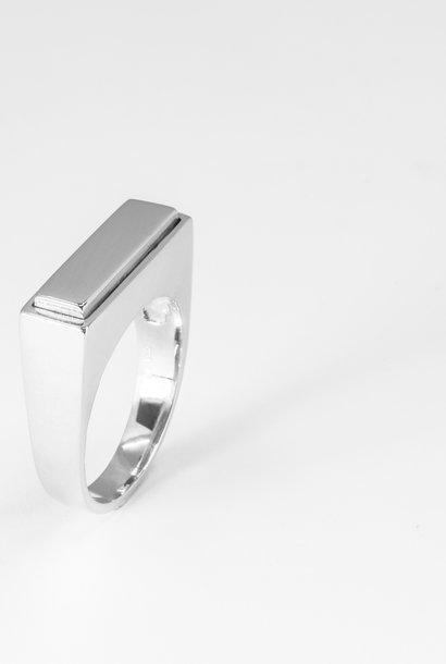 Zilveren heren (as)ring QUARTRO