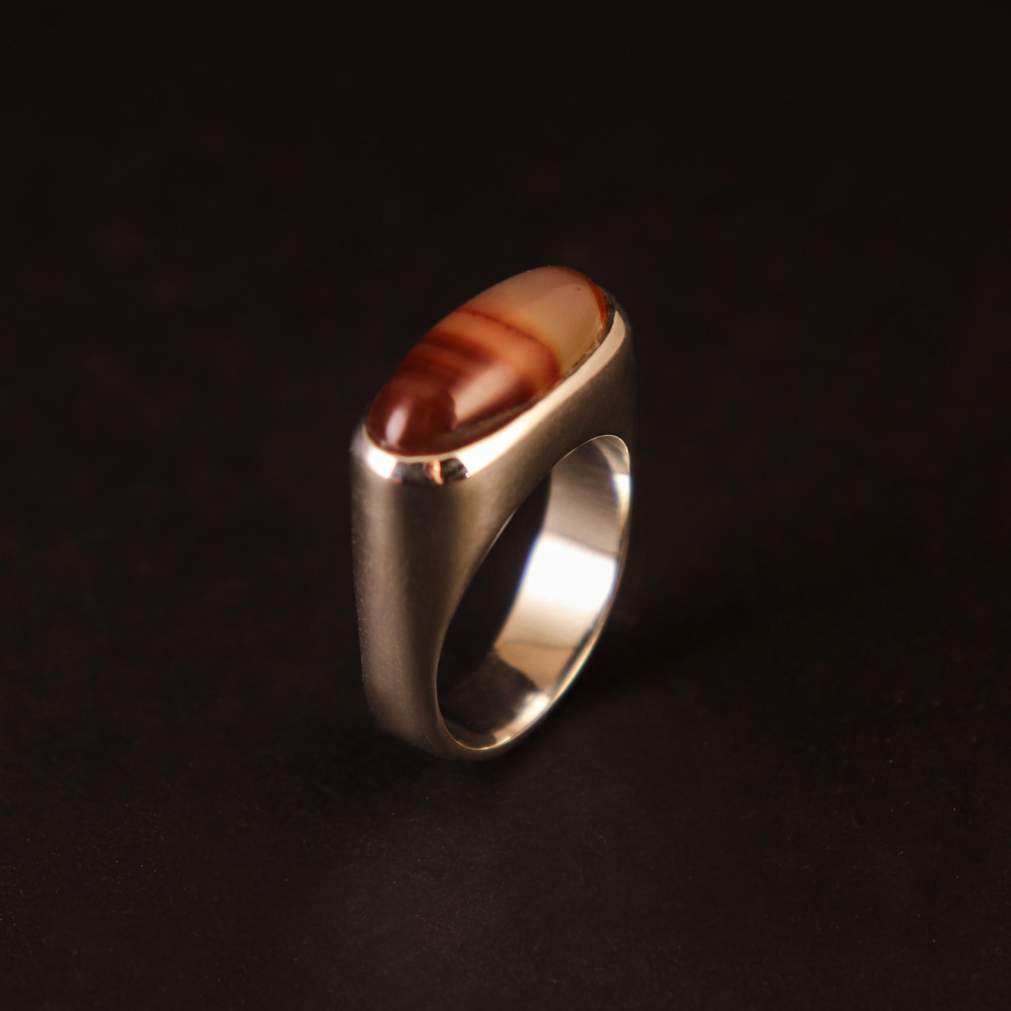 (As)ring  GEM, goud met Carneool-2