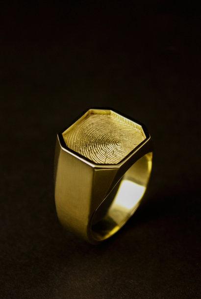 Gouden  herenring ALTIJD - vingerafdruk