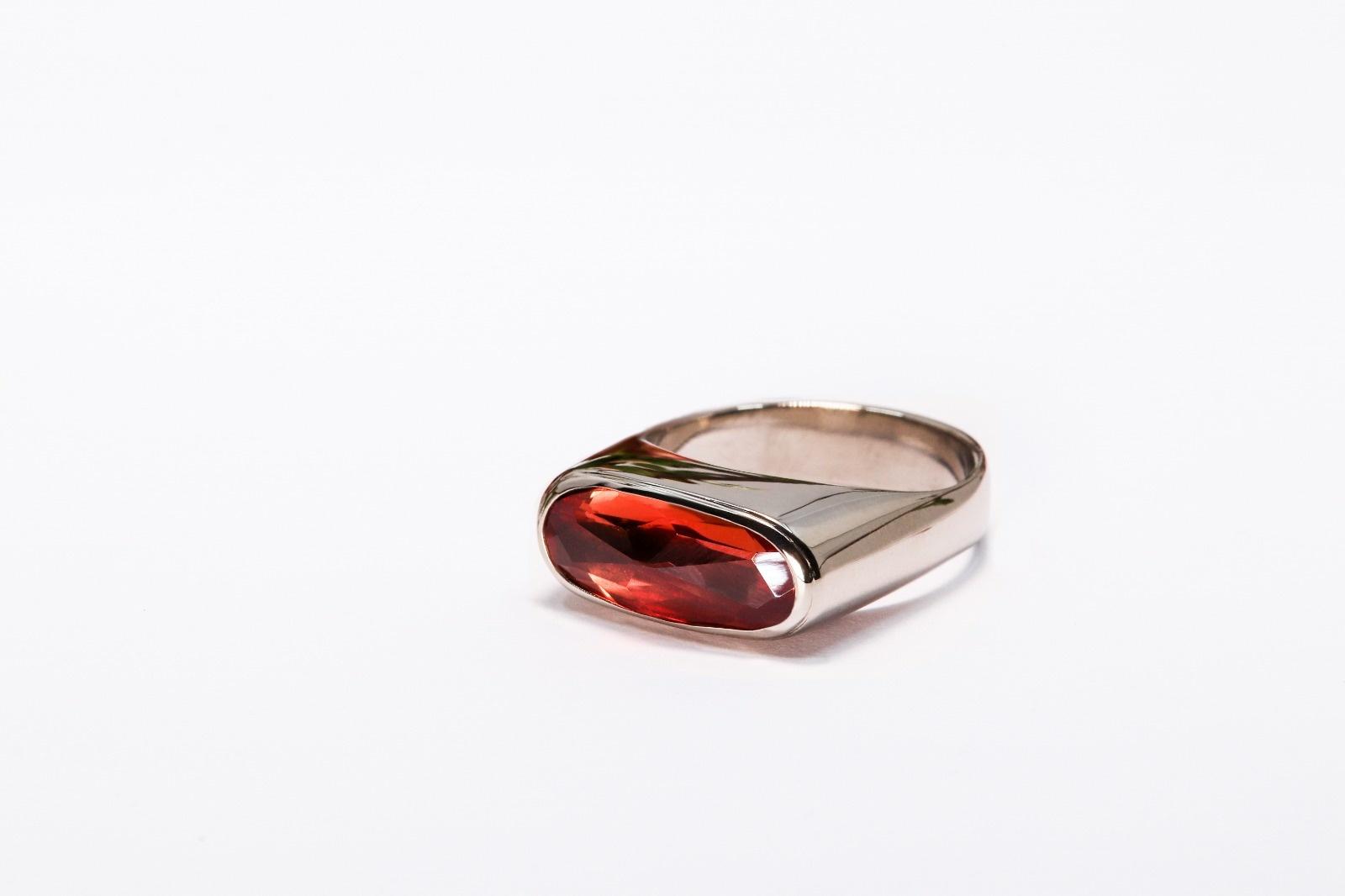 (As)ring GEM, goud met  Padparadscha Saffier-5