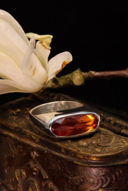 (As)ring GEM, goud met  Padparadscha Saffier