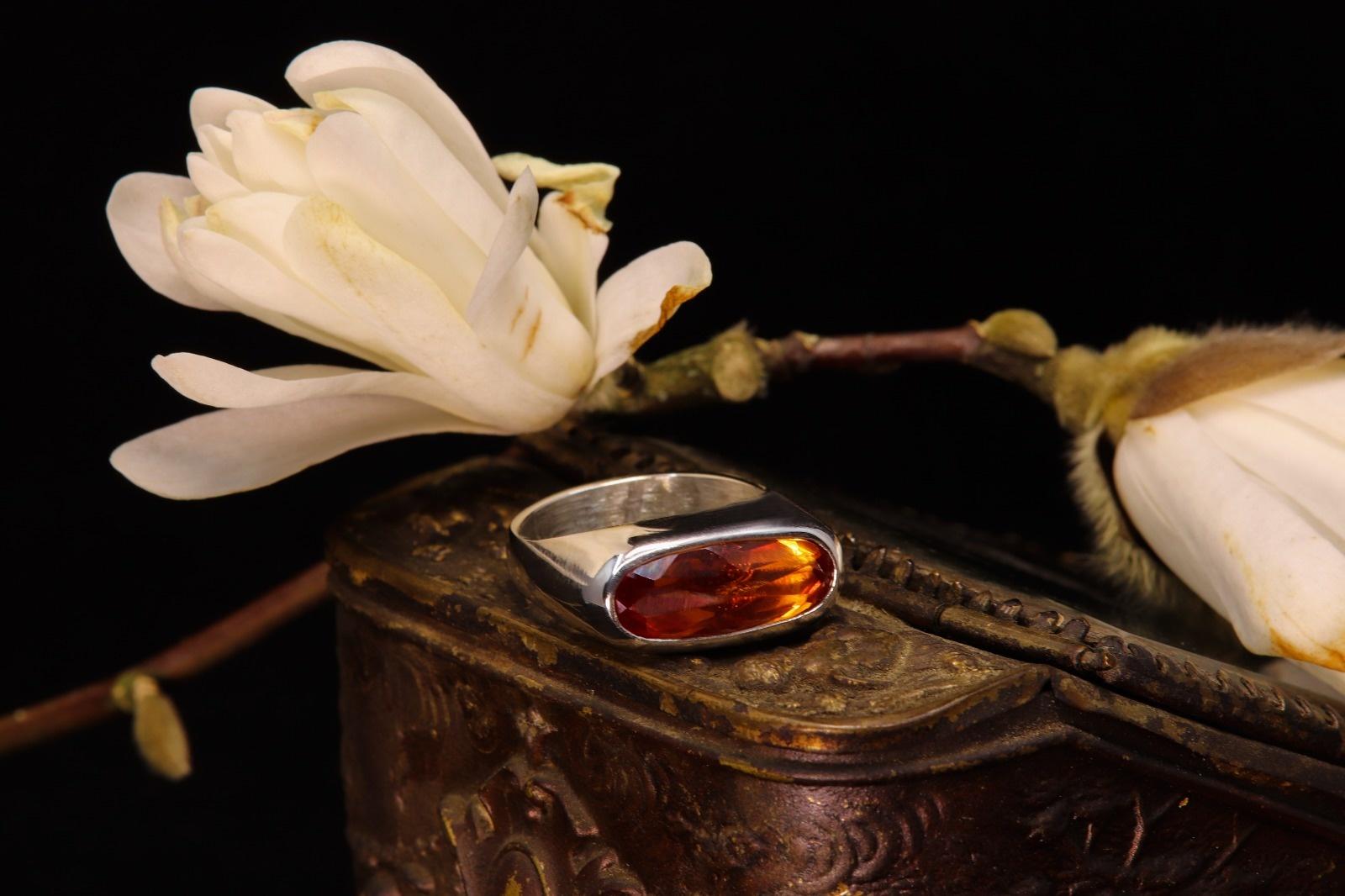 (As)ring GEM, goud met  Padparadscha Saffier-1