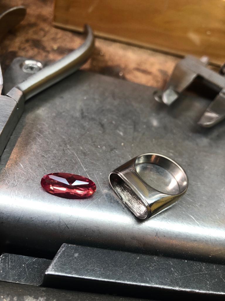 (As)ring GEM, goud met  Padparadscha Saffier-8