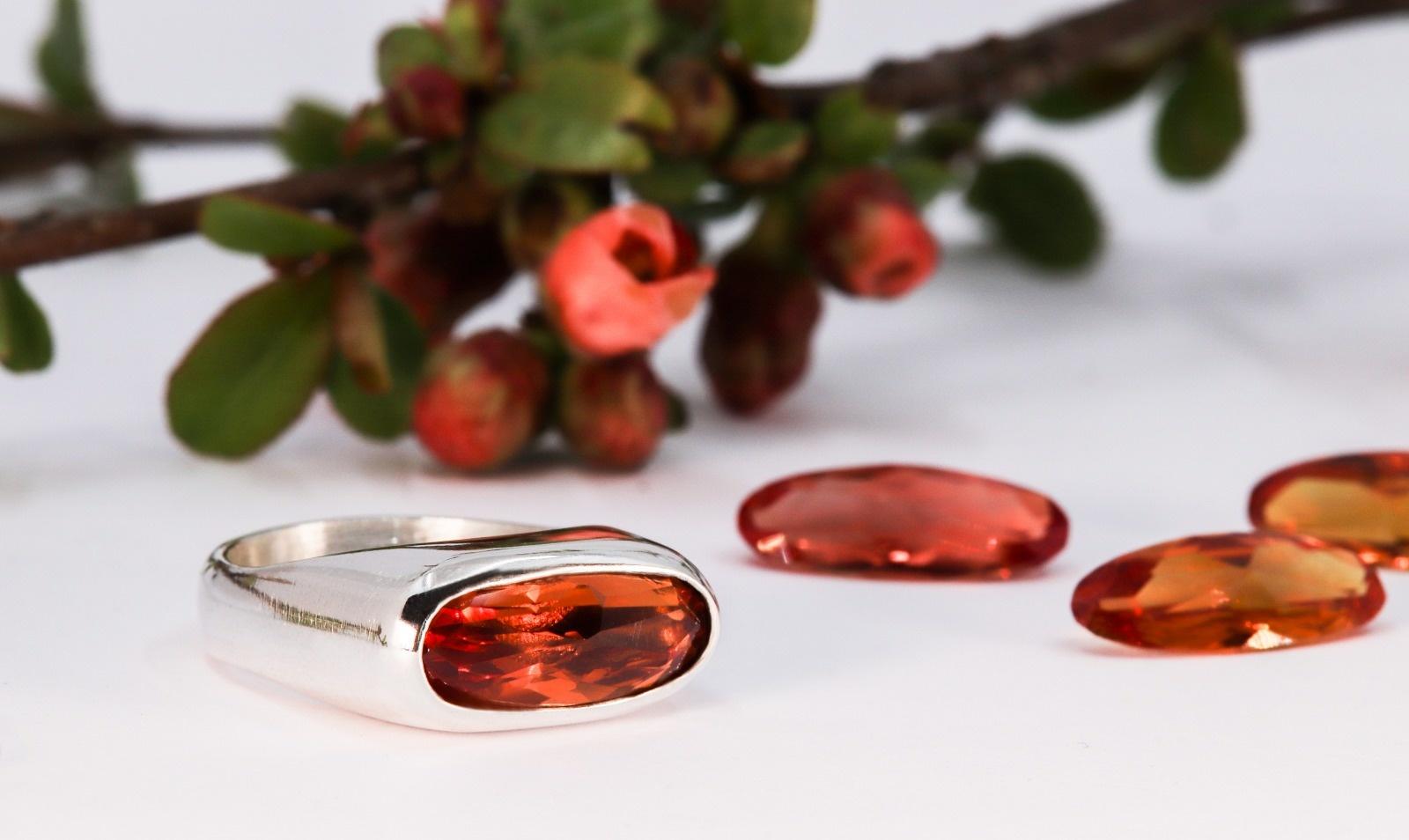 (As)ring GEM, goud met  Padparadscha Saffier-6