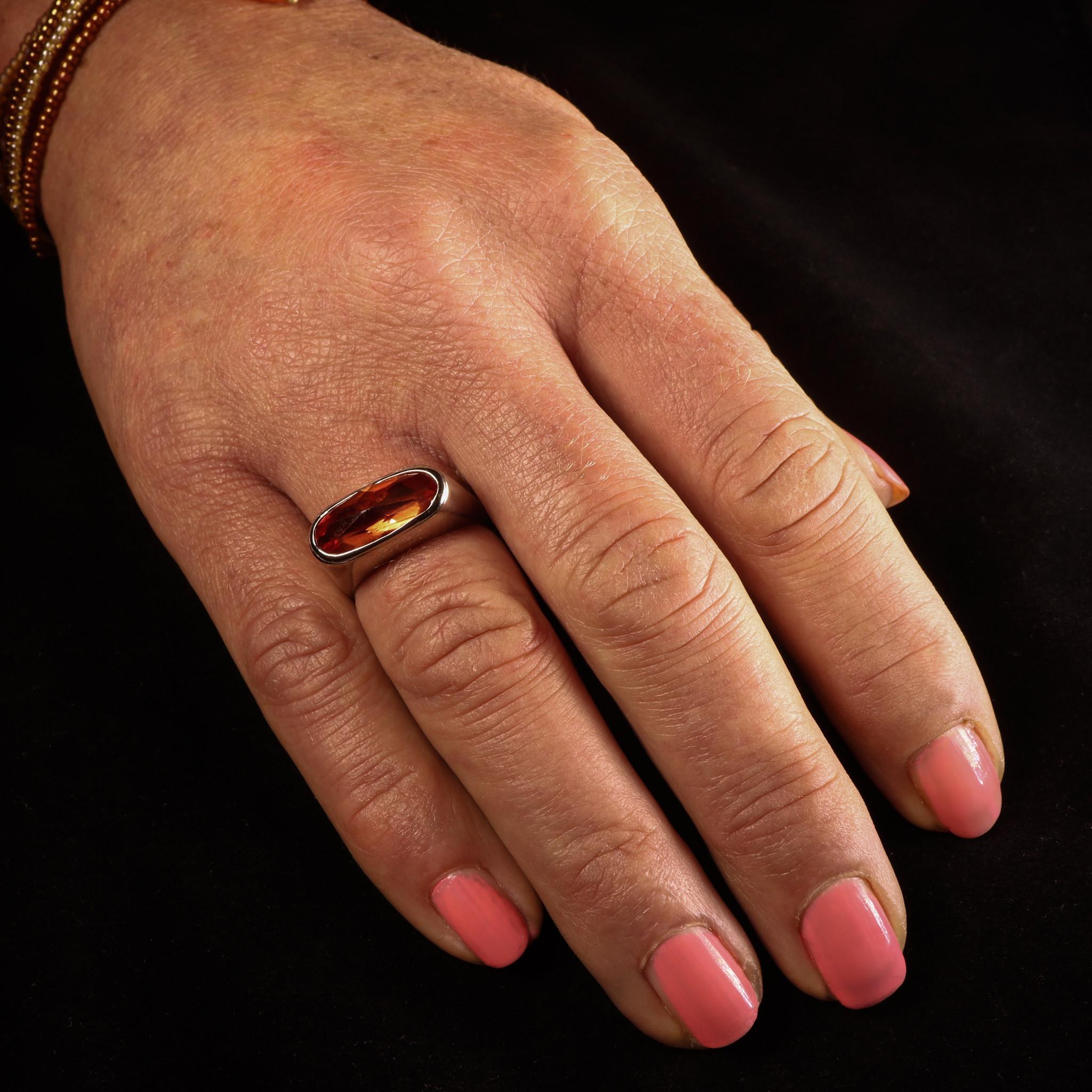 (As)ring GEM, goud met  Padparadscha Saffier-2