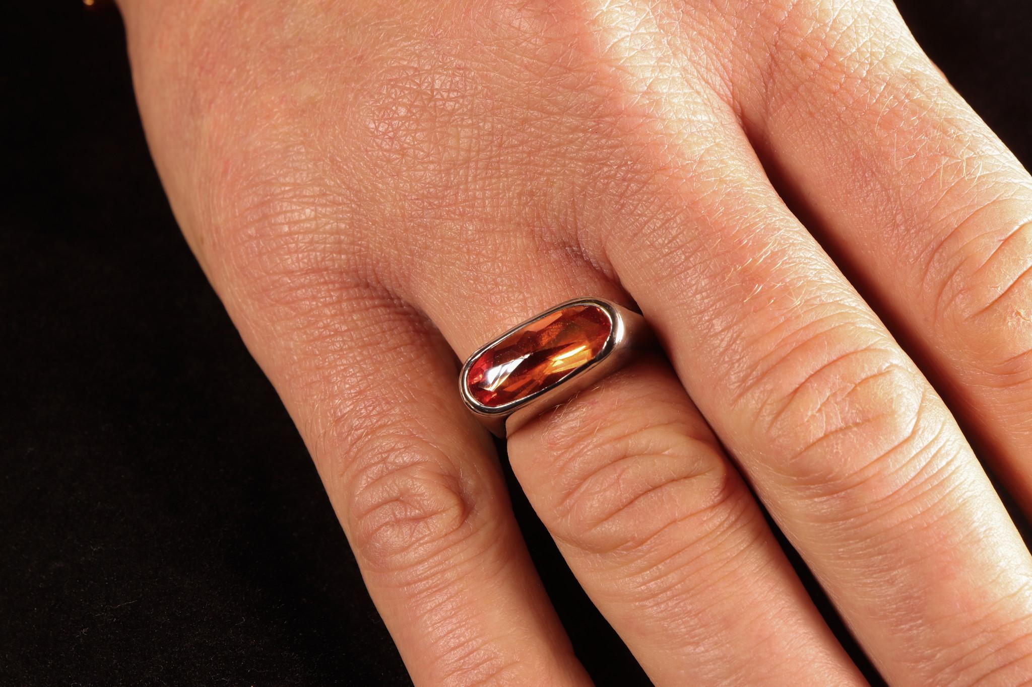 (As)ring GEM, goud met  Padparadscha Saffier-3