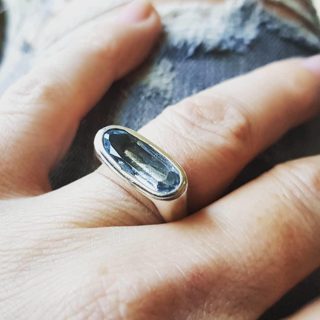 (As)ring GEM, goud met Aquamarijn-5