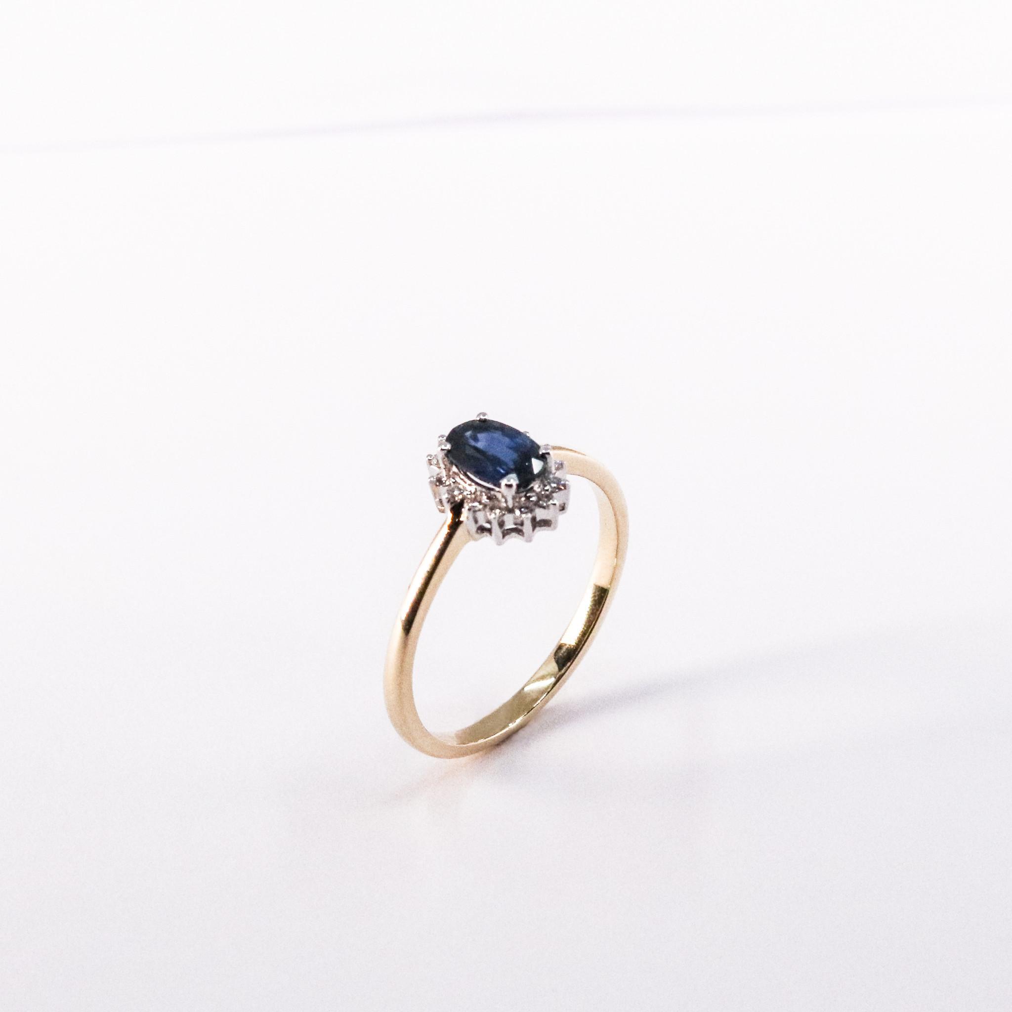 Ring ENTOURAGE, goud met saffier en diamanten-3