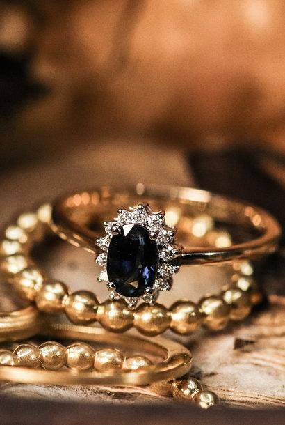 Ring ENTOURAGE, goud met saffier en diamanten