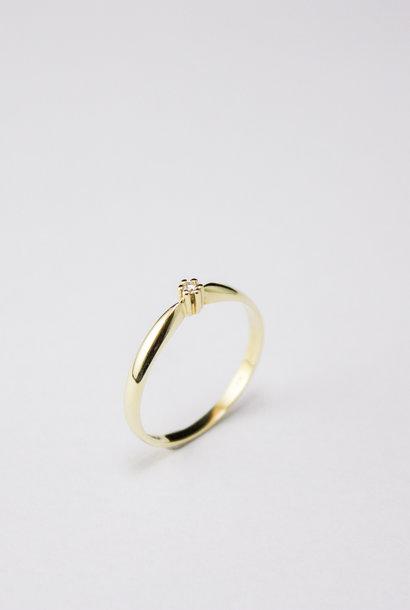 Ring SOLITAIR, goud met diamant
