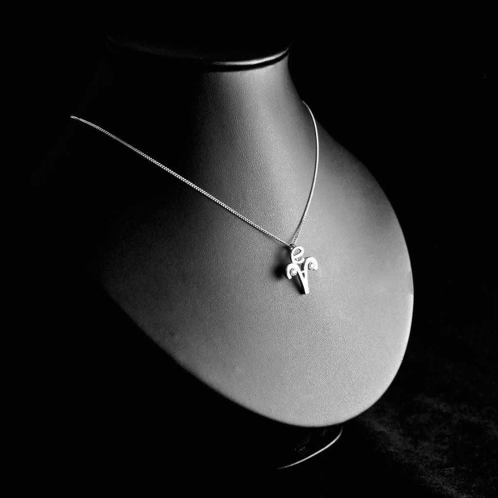 MARGRIET JEWELS Witgouden hanger STERRENBEELD met Diamant
