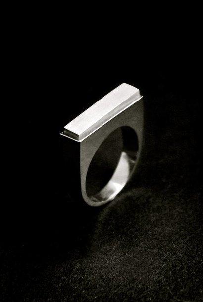 (As)ring RECHTHOEK smal, zilver