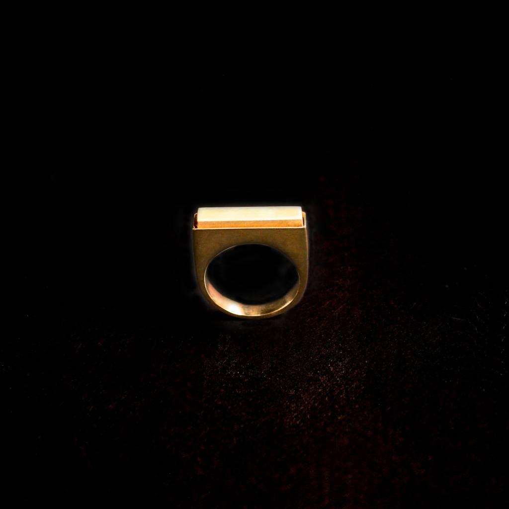 (As)ring RECHTHOEK smal, goud-3