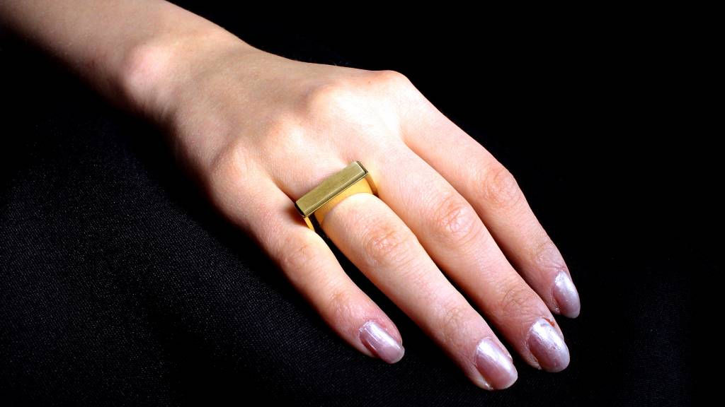 (As)ring RECHTHOEK smal, goud-2