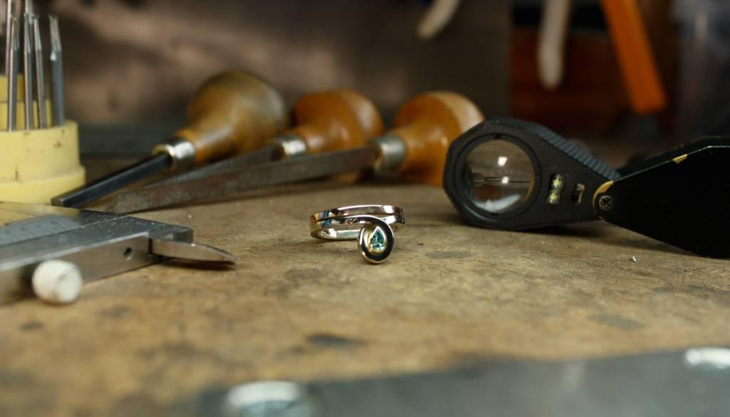 Ring SKY, twee kleuren goud met diamant-4