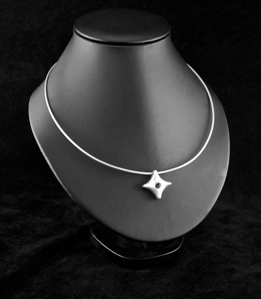 (As)hanger TWINKEL, zilver met smaragd-2