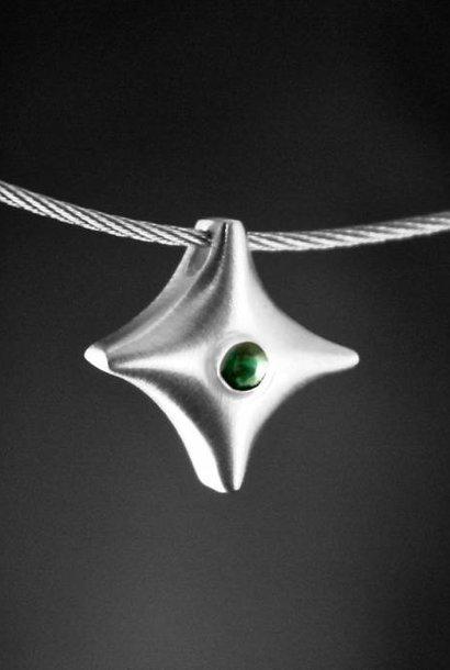 (As)hanger TWINKEL, zilver met Smaragd