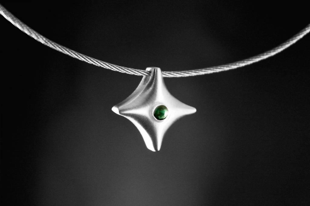 Zilveren ashanger TWINKEL - Smaragd