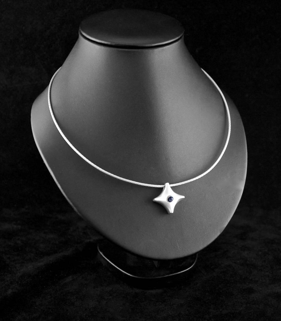 (As)hanger TWINKEL, zilver met saffier-2