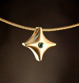 Gouden ashanger TWINKEL - Smaragd