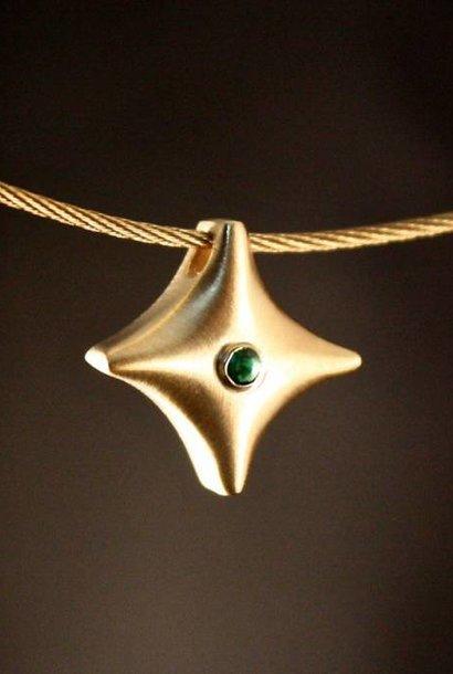 (As)hanger TWINKEL, goud met Smaragd