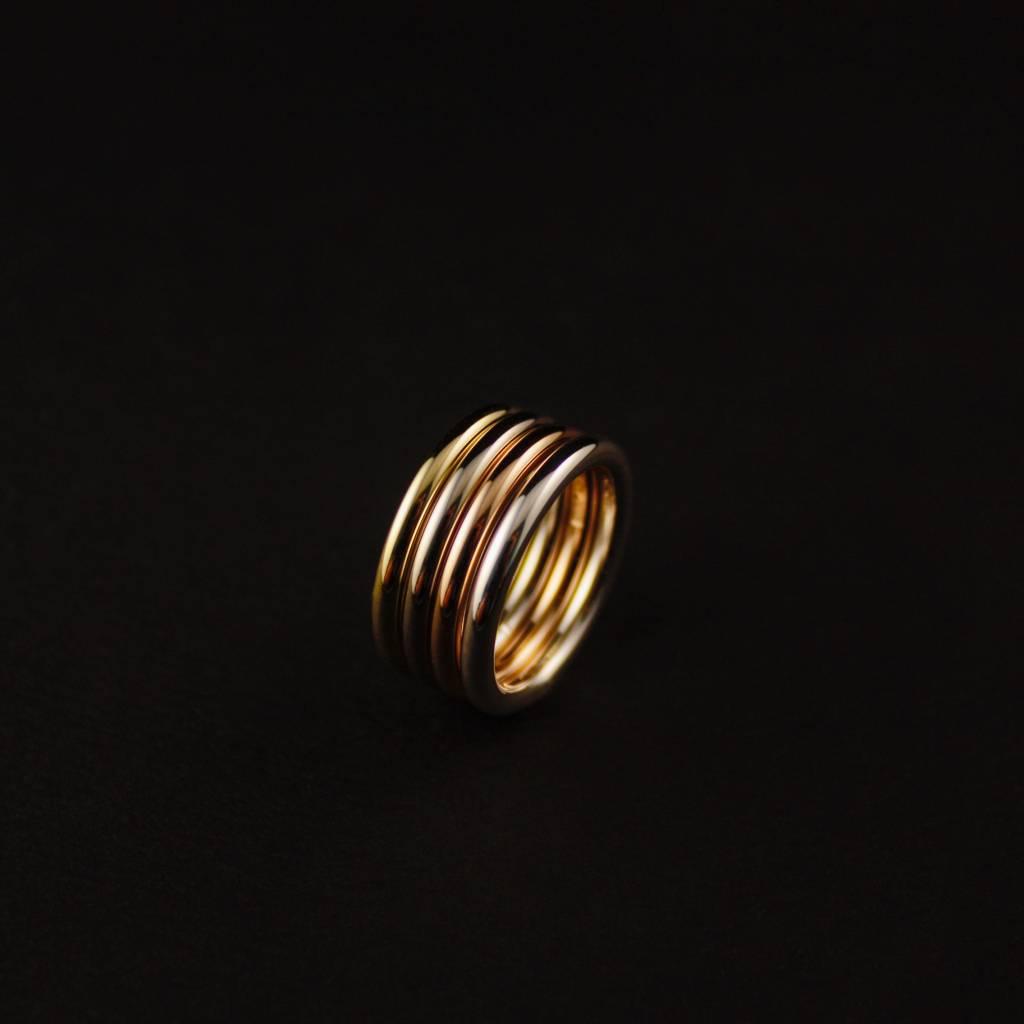 14K Gouden aanschuifring ZONNEBLOEM-2