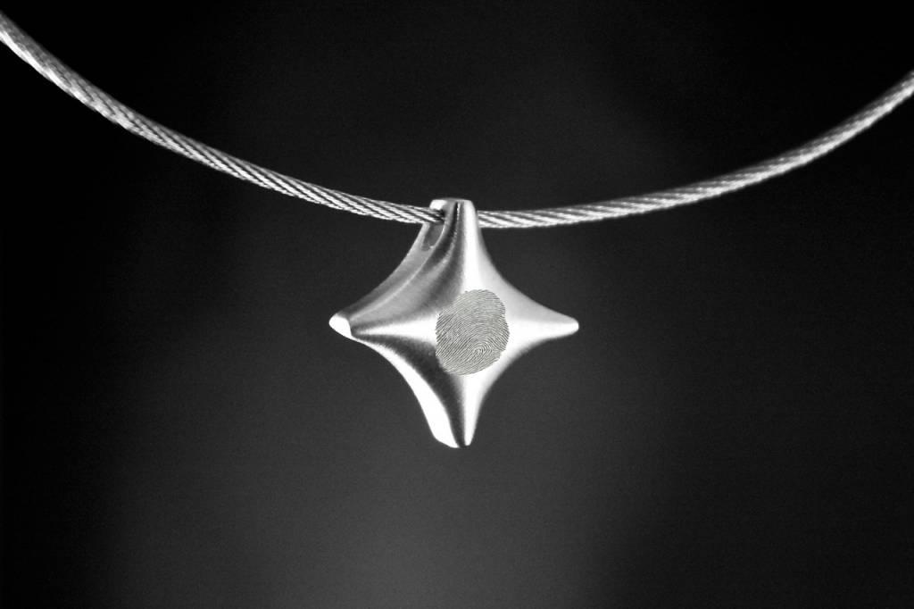 (As)hanger TWINKEL, zilver met vingerafdruk-1
