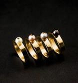Gouden damesring PAREL - Wit
