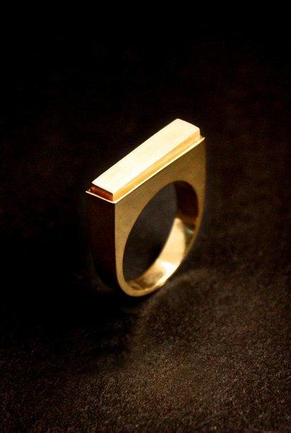 (As)ring RECHTHOEK smal, goud