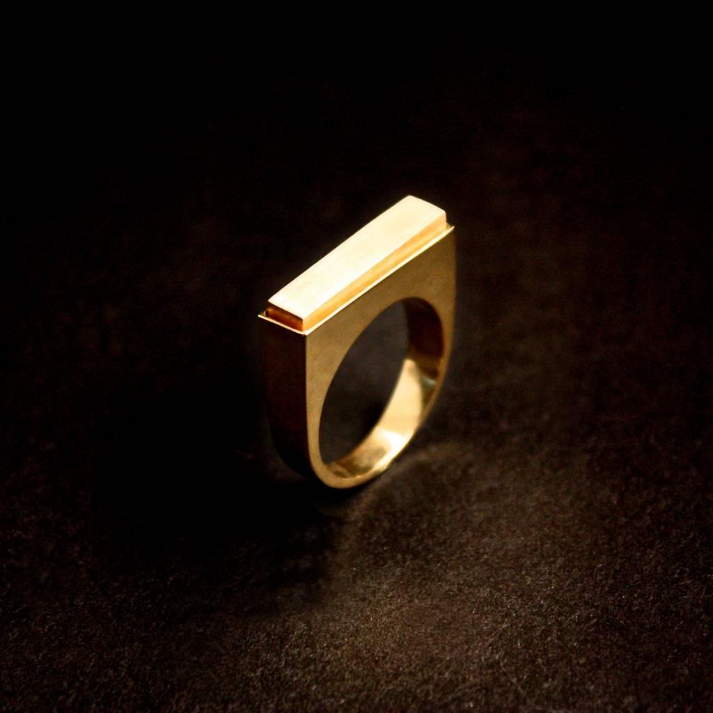 (As)ring RECHTHOEK smal, goud-1