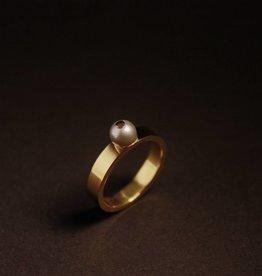 Gouden damesring PAREL - Grijs