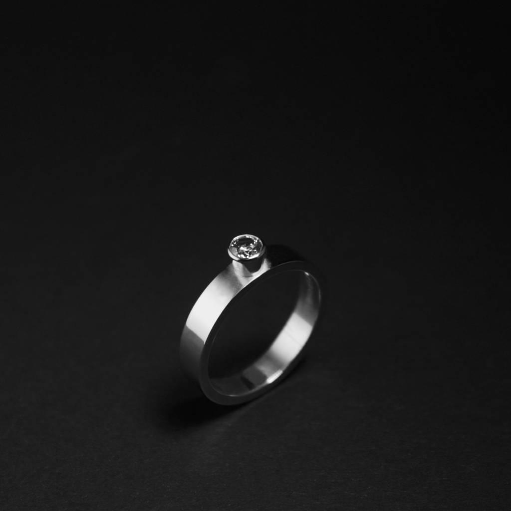 Ring WARE LIEFDE, zilver met LAB grown Diamant-1