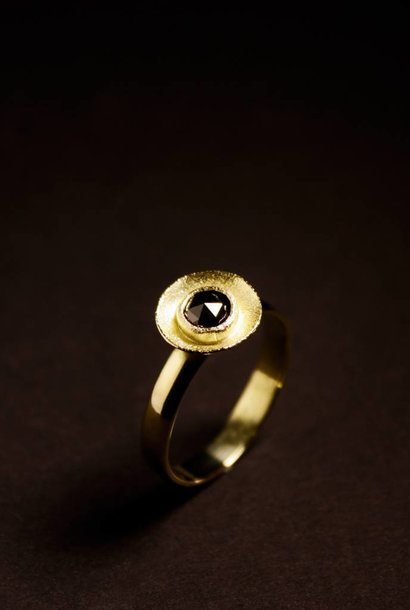 Gouden damesring BLACK DIAMOND