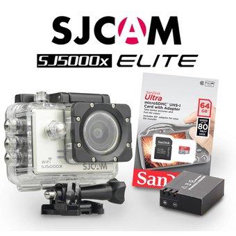 SJCAM SJ5000x Elite Sony IMX078 in Silver, met extra accu en 64Gb Sandisk kaart