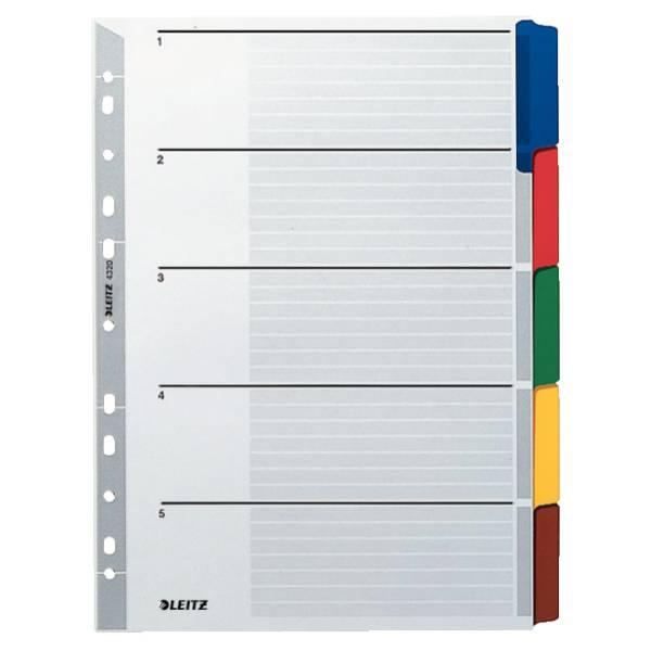 Leitz Karton-Register Blanko, mit farbigen Taben, 5 Blatt, DIN A4