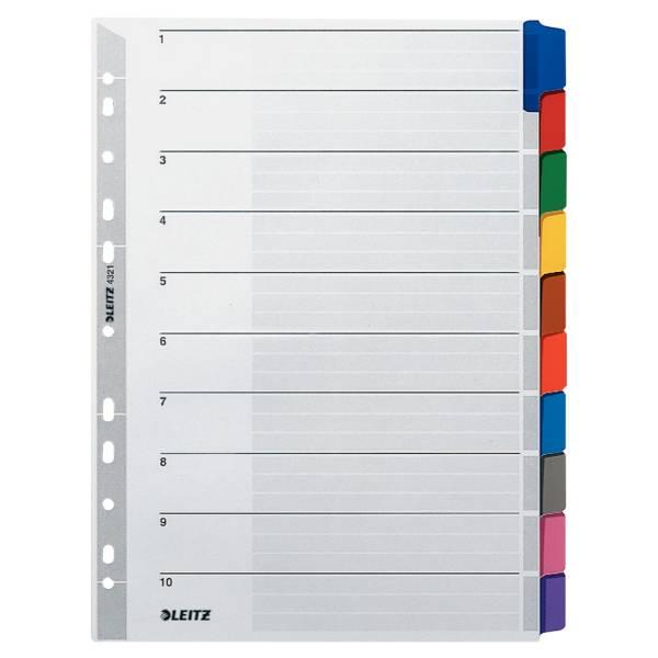 Leitz Karton-Register Blanko, mit farbigen Taben, 10 Blatt, DIN A4