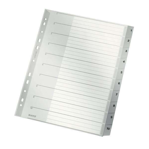 Leitz Plastik-Register Zahlen 1-10, 10 Blatt, DIN A4