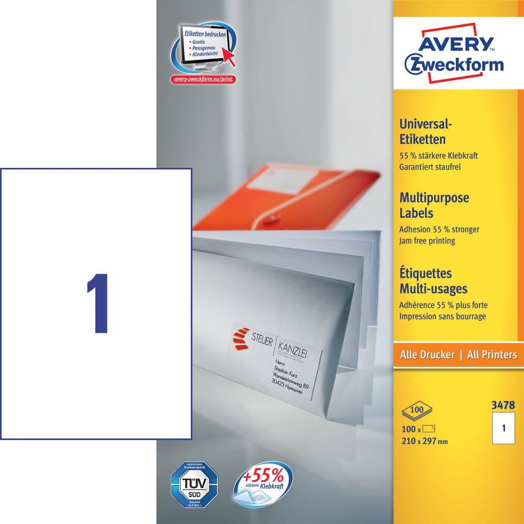 Avery Zweckform Universaletiketten 210 x 297 mm 100 Blatt