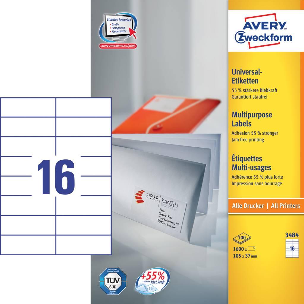 Avery Zweckform Universaletiketten 105 x 37 mm 100 Blatt